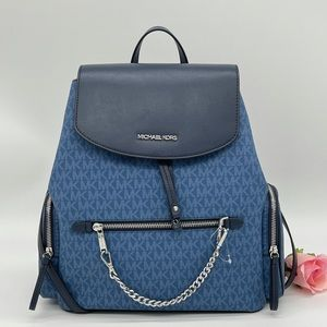 Michael Kors Large Chain Backpack Darcy Chambray